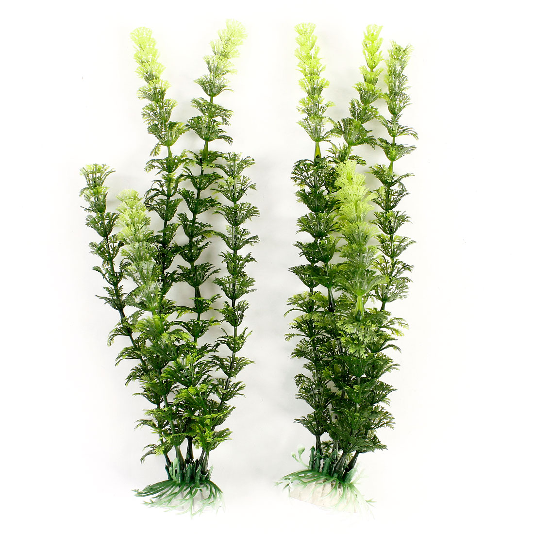 "Aquarium Landscaping Ornament Green Plastic Water Plant 12.2"" High 2 Pcs"