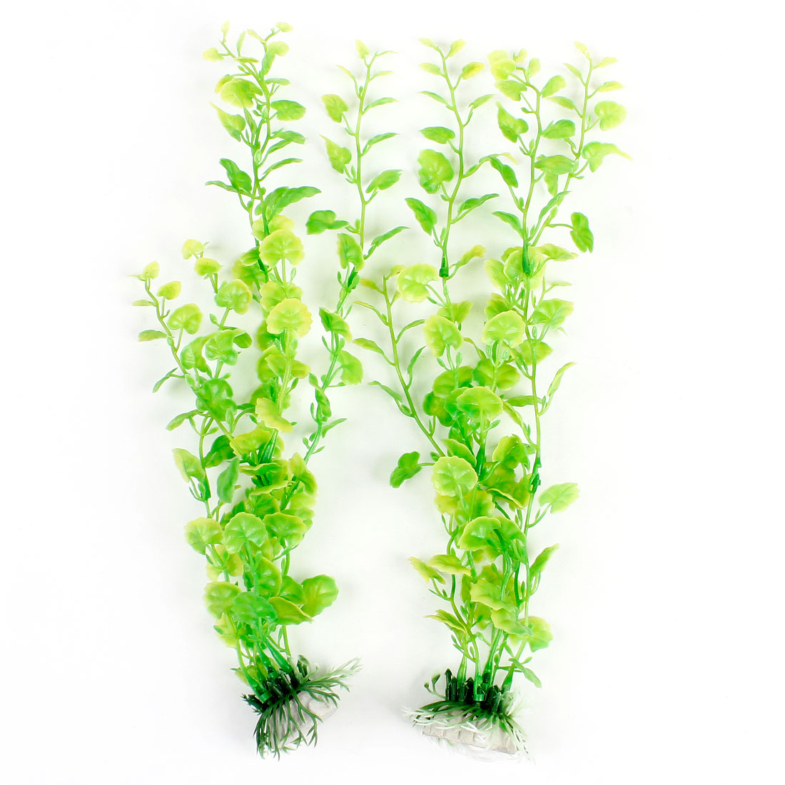 2 Pcs Light Green Leaves Ceramic Anchor Base Accent Aquariums Water Grass