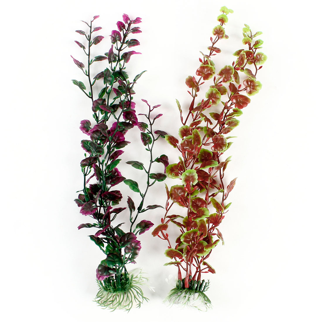 "2 Pcs Green Red Plastic Underwater Weeds Plant Ornament 13"" High for Fish Tank"