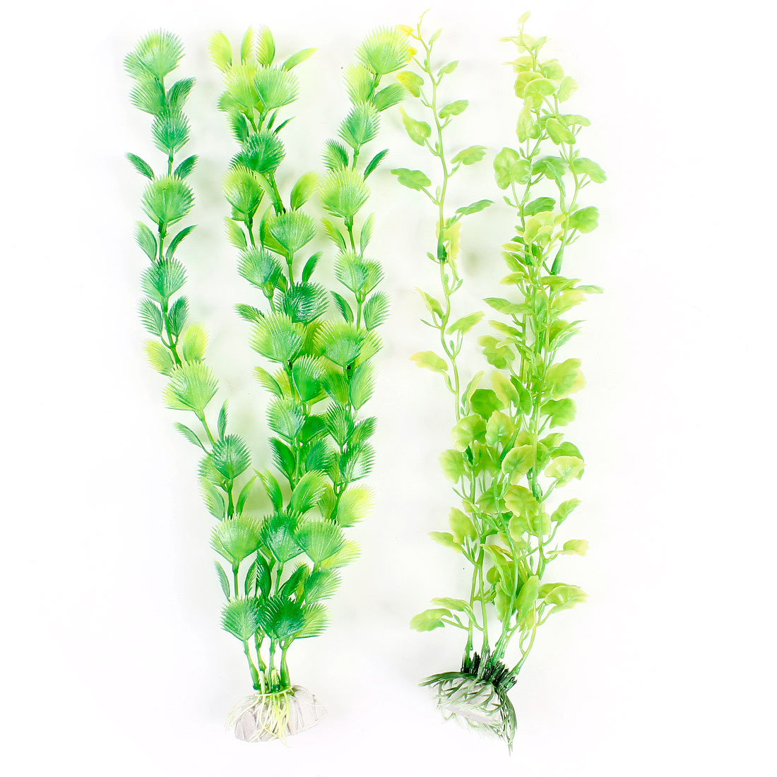 Fish Tank Light Green Plastic Artificial Water Grasses 2 Pcs