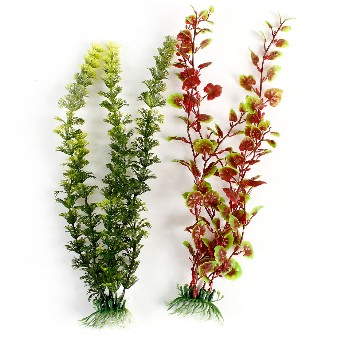 2 Pcs Aquariums Ornament Imitation Green Red Plastic Water Grasses