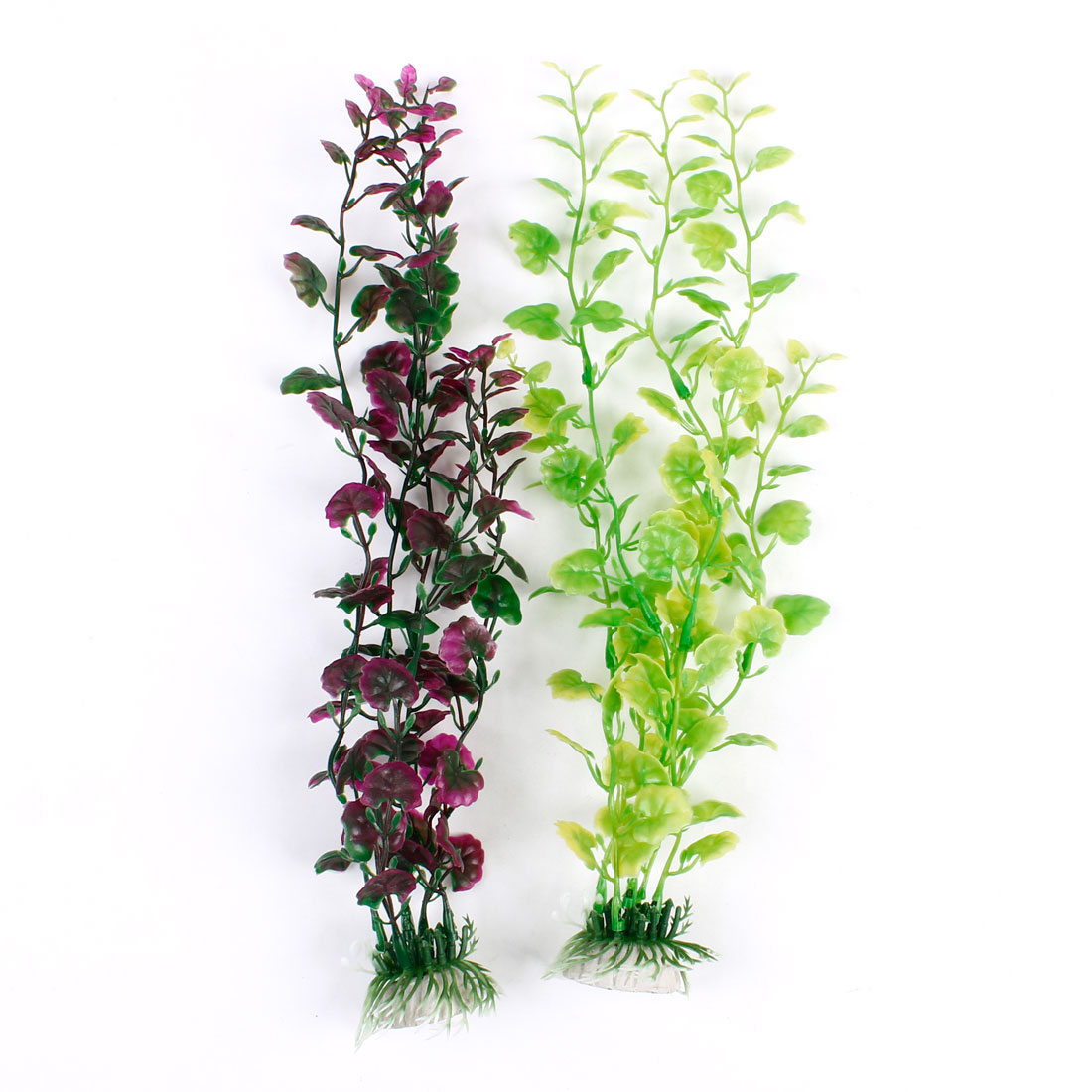 "13"" High Aquarium Artificial Dark Purple Light Green Plastic Plants 2 Pcs"