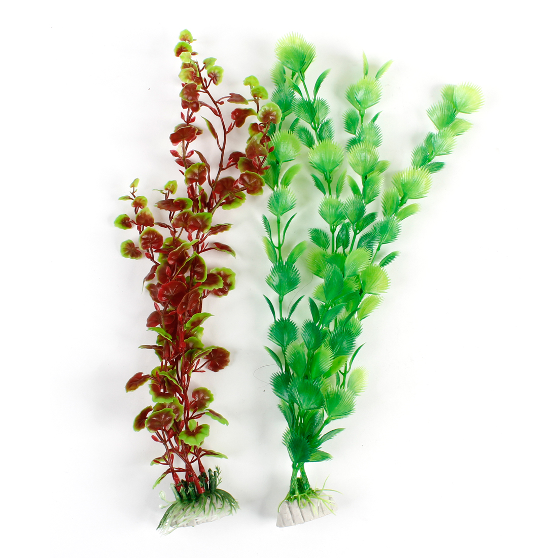 Fish Tank Dark Red Green Aquariums Plastic Underwater Weeds Plant 2 Pcs