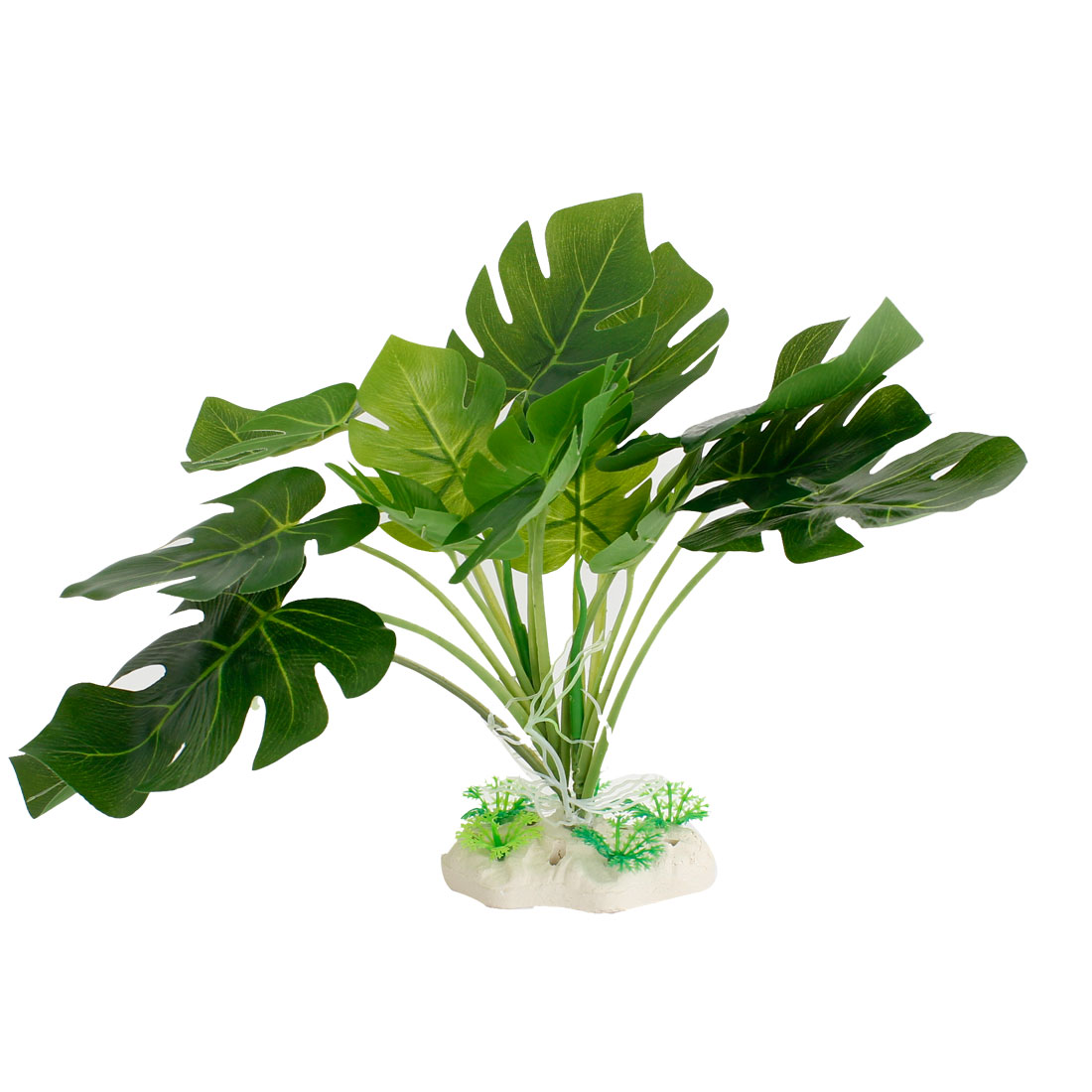 "Art Green Plastic Leaves Aquariums Water Plant Decorated 9.5"" High for Fish Tank"
