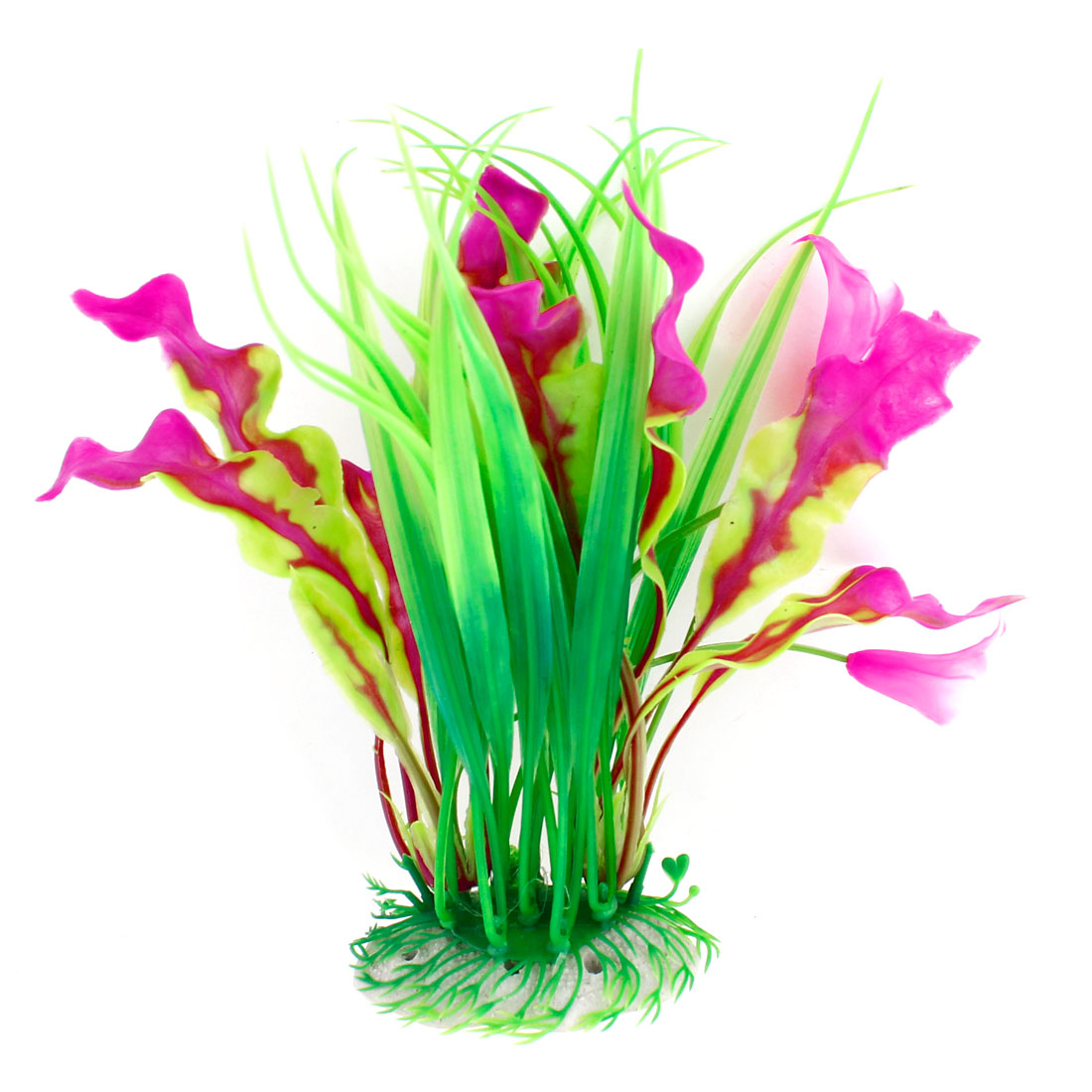 Green Purple Plastic Flowers Decoration Underwater Grasses for Fish Tank