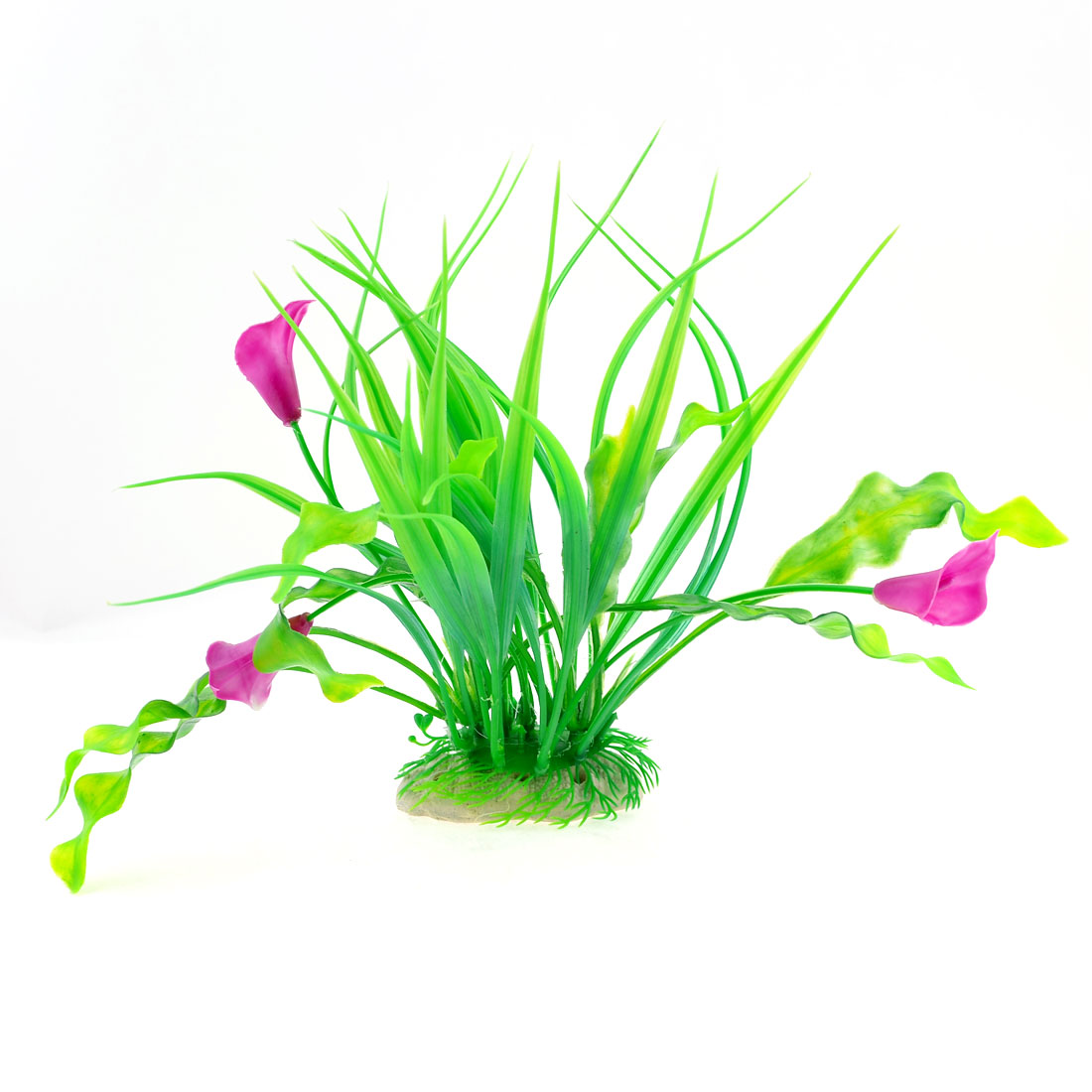 Green Purple Flower Ceramic Anchor Base Decor Plastic Water Plant for Tank