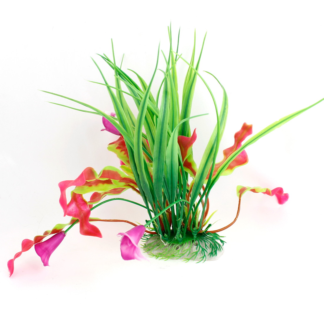 Fish Tank Flowers Ornament Plastic Underwater Weeds Plant Green Magenta