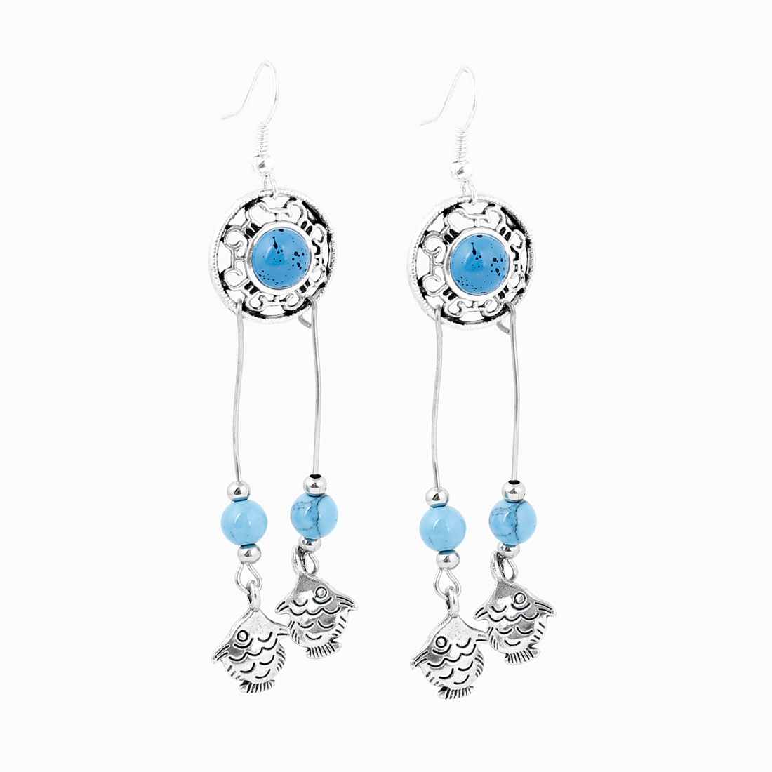 Ladies Blue Beads Fish Detail Pendant Hook Earrings Silver Tone Pair