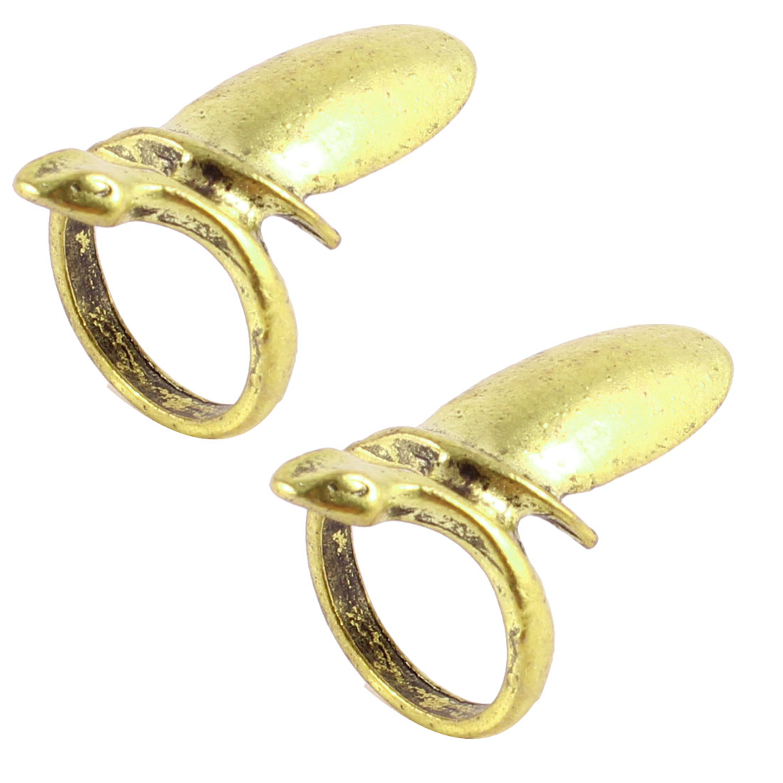2 Pcs Bronze Tone Meatl Nail Detail Finger Ring US 2 1/4