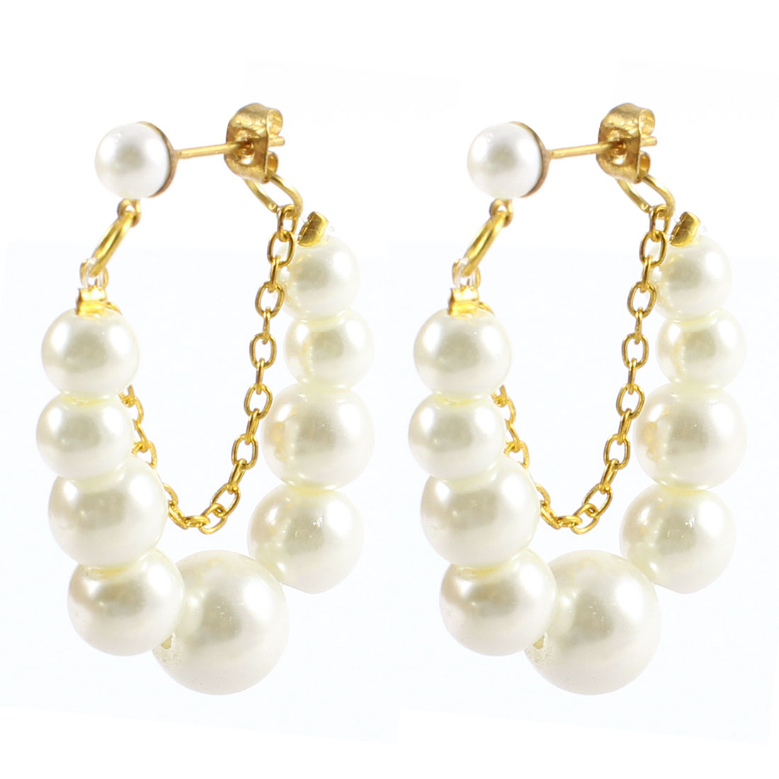 2 Pcs White Plastic Beads Decor Round Shape Hoop Earrings for Woman Girls