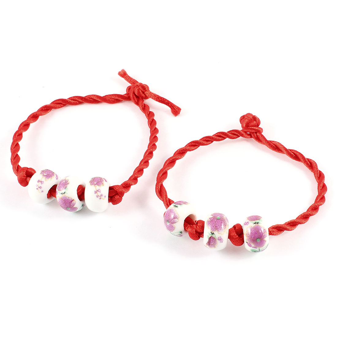 2 Pcs Flower Print Plastic Beads Link Red Nylon Twisted String Bracelet