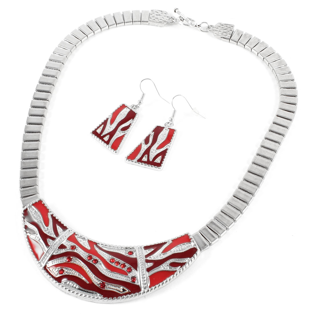 Red Trapezium Pendant Earrings Crescent Moon Shape Necklace Jewelry Set
