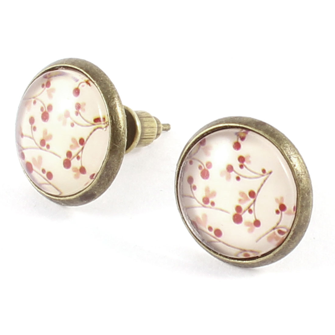 Ladies Pair Flower Print Round Shape Stud Earrings Bronze Tone