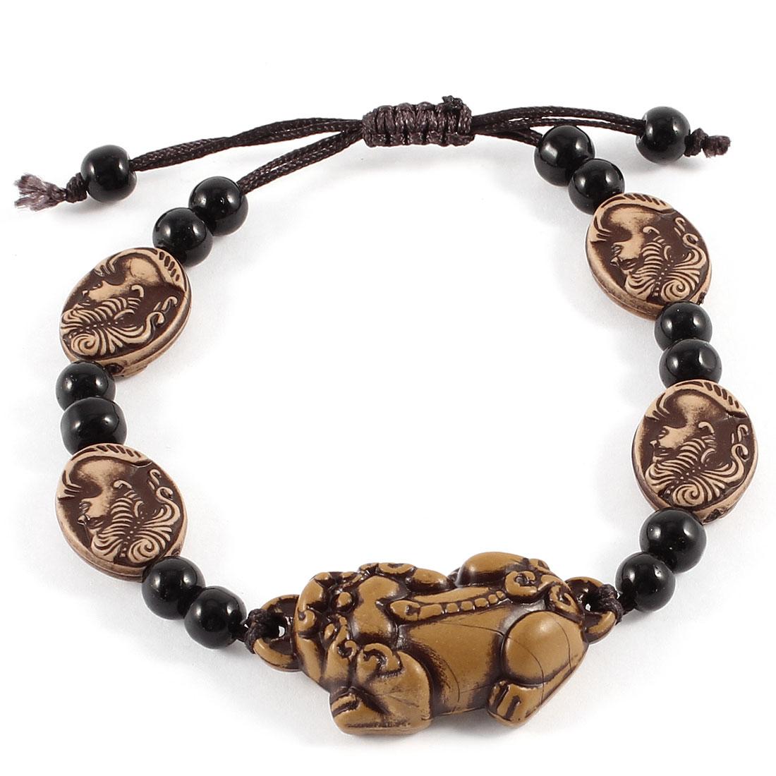 Black Plastic Beads Linked Hikyuu Decor Adjustable Rope Bangle Bracelet