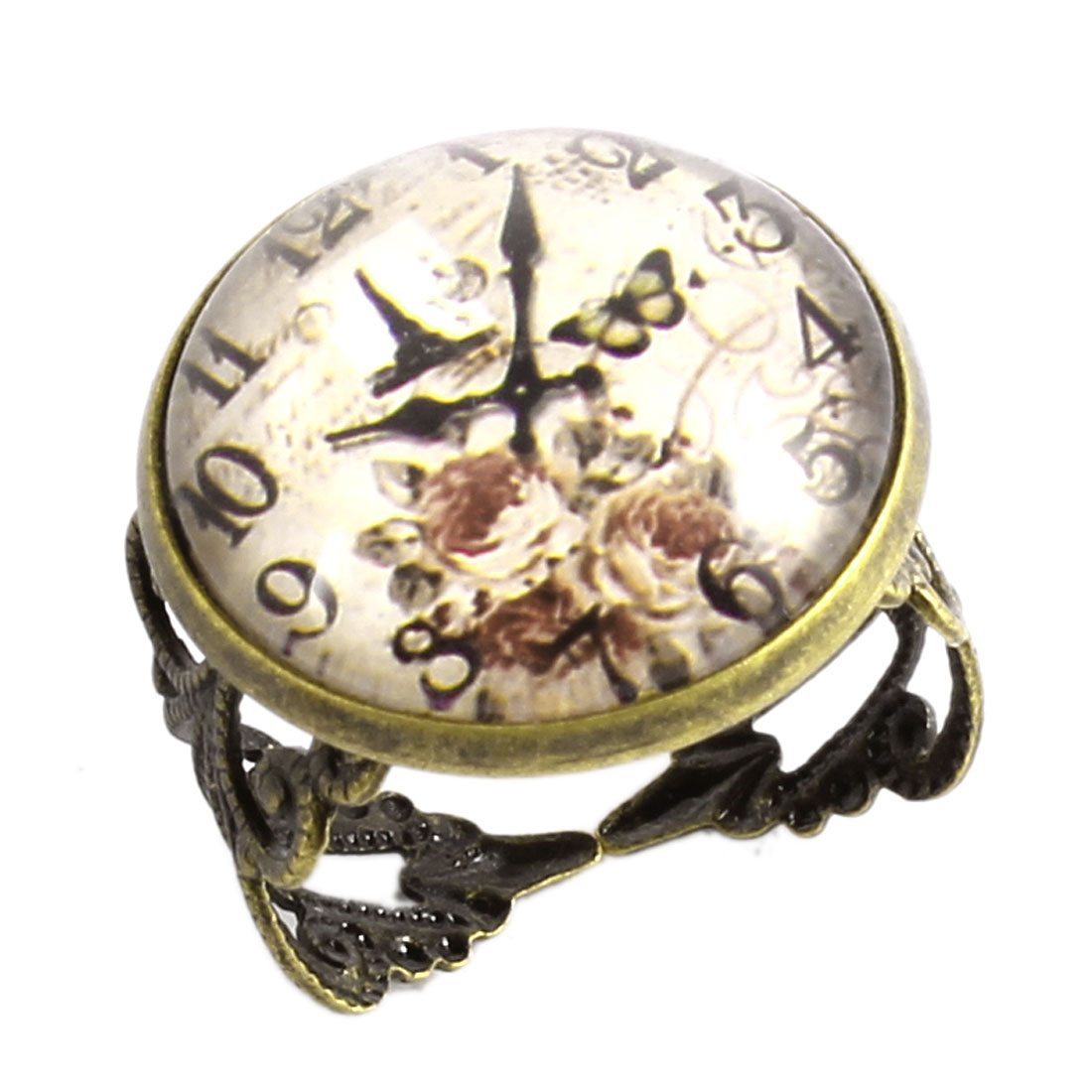 Lady Bronze Tone Metal Clock Print Round Shape Decor Finger Ring US 6 1/2