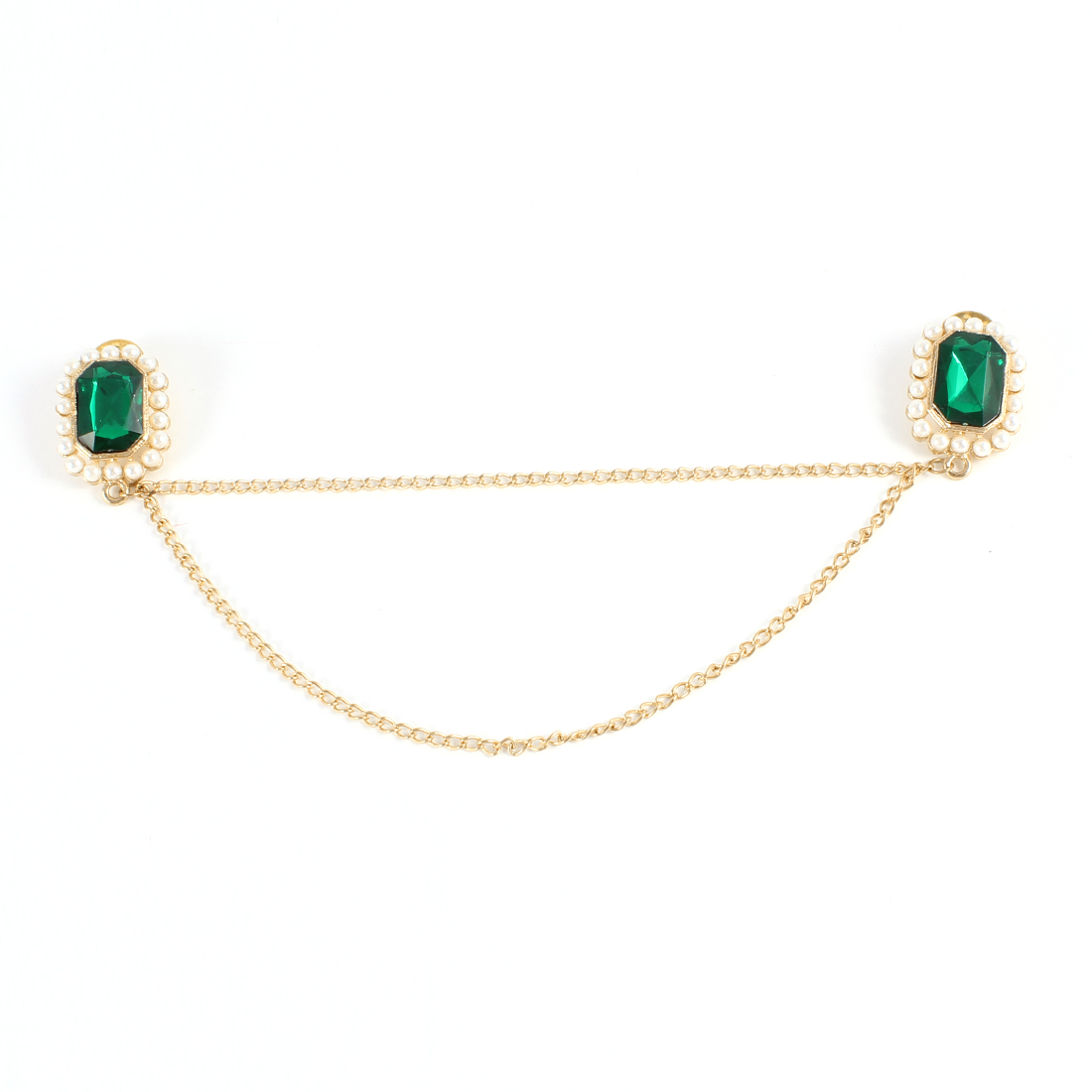 Green Plastic Faceted Crystal Decor Gold Tone Chain Collar Pin Brooch