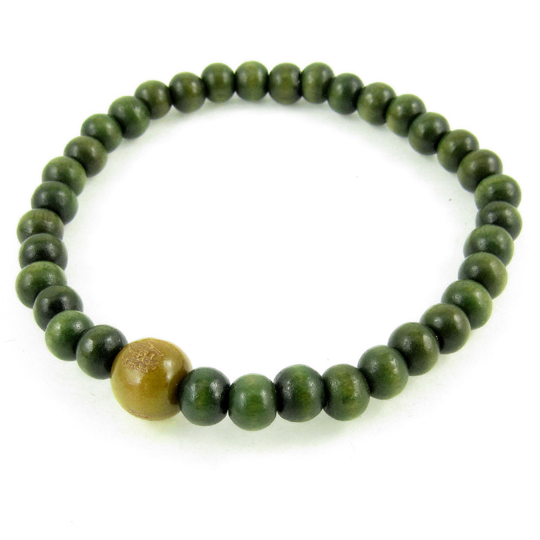 Plastic Round Buddha Beads Elastic Hand Catenary Olive Green