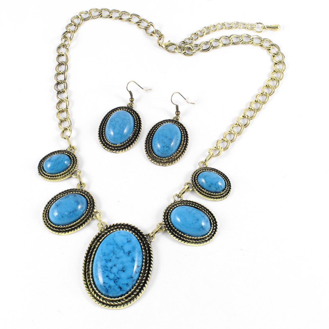 Women Dodger Blue Plastic Beads Pendant Necklace Neck Adornment w Hook Earrings