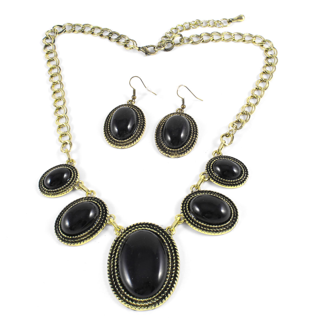 Woman Black Plastic Beads Decor Round Pendant Hook Earring Necklace Set