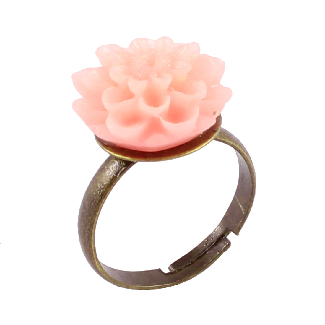 Lady Bronze Tone Band Light Pink Flower Decor Finger Ring US 6 1/2