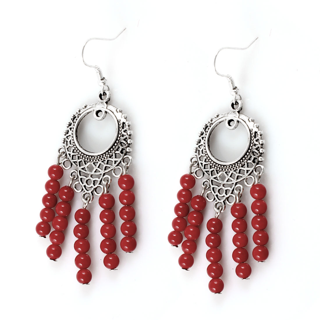Lady Red Plastic Round Beads Detail Fish Hook Earrings Silver Tone Pair