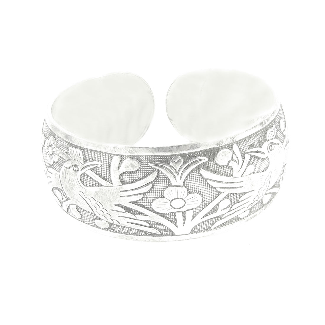 Woman Girl Silver Tone Metal Bird Decor Bracelet Bangle Decoration