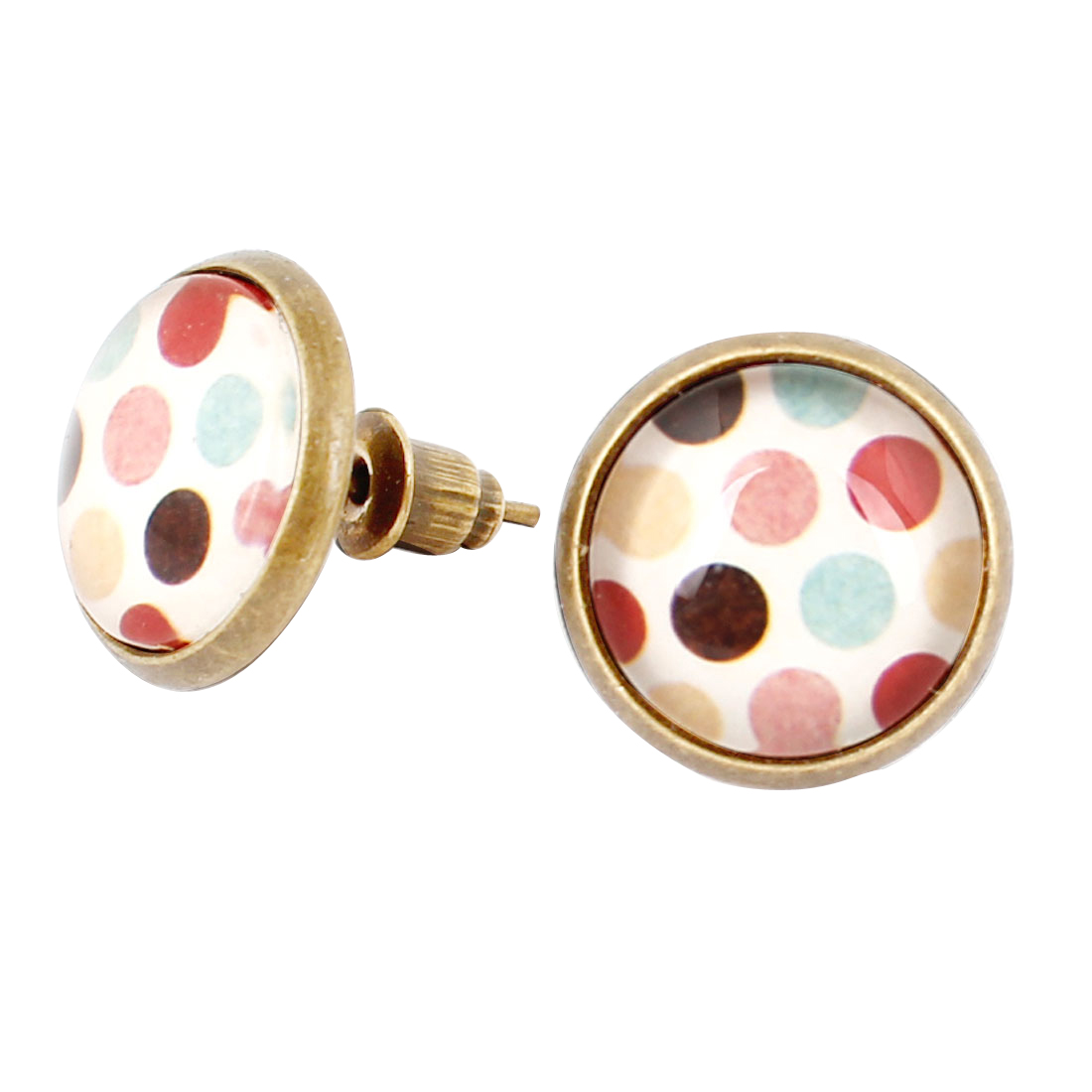 Pair Colorful Dot Print Round Shape Stud Earrings Bronze Tone Decoration