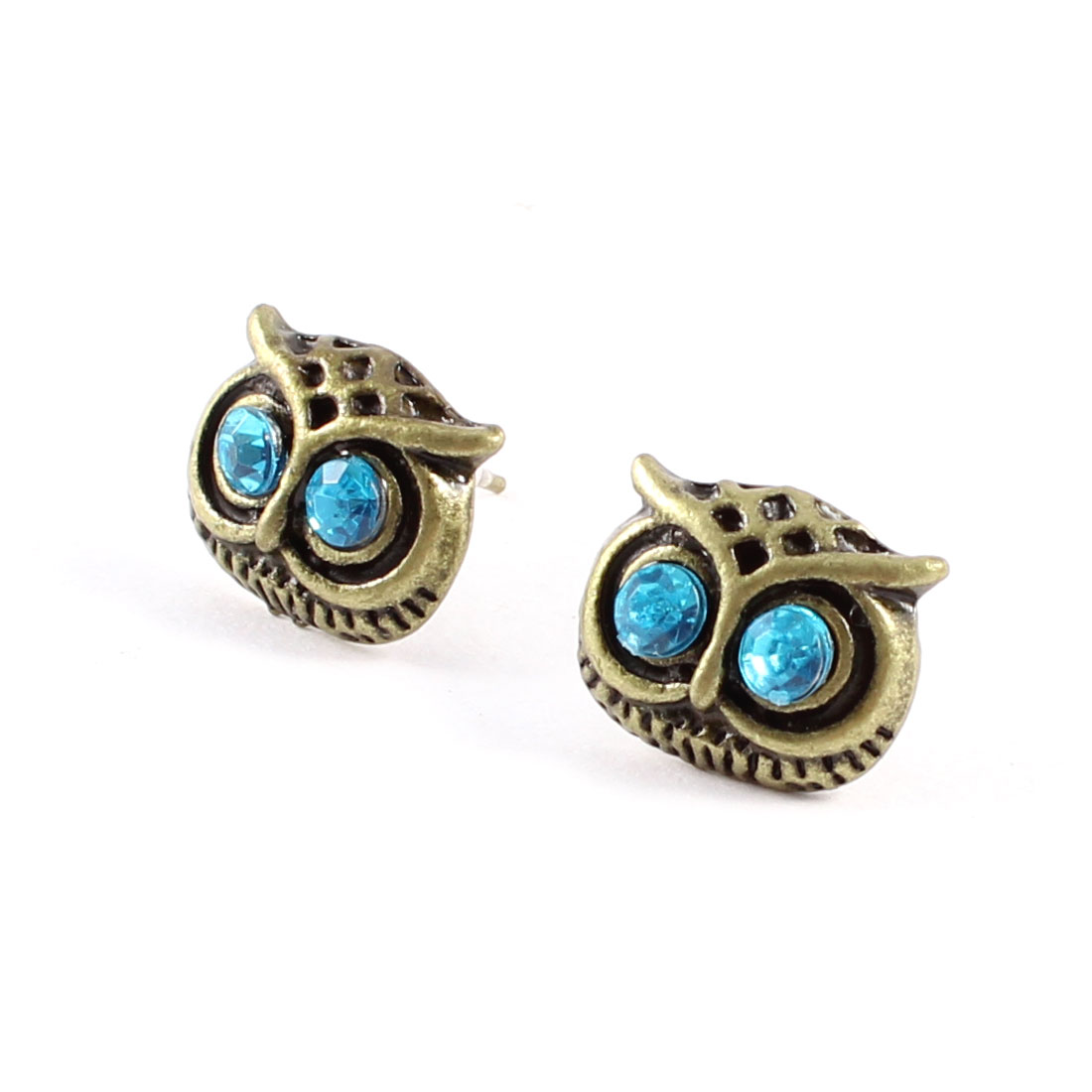2 Pcs Blue Plastic Rhinestone Inlaid Owl Style Stud Earrings Bronze Tone