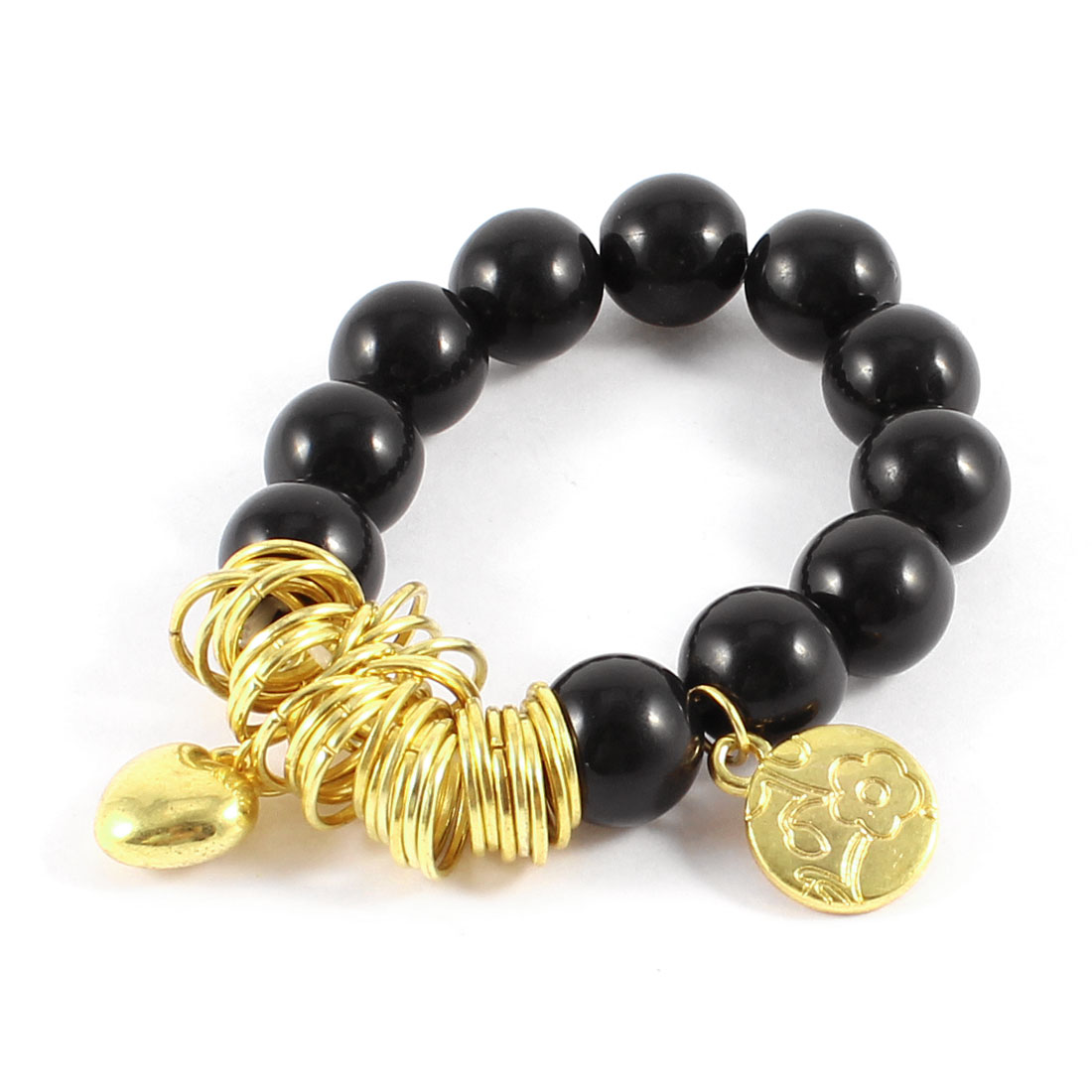 Black Bead Gold Tone Chain Heart Round Detail Elastic Wrist Bracelet for Women