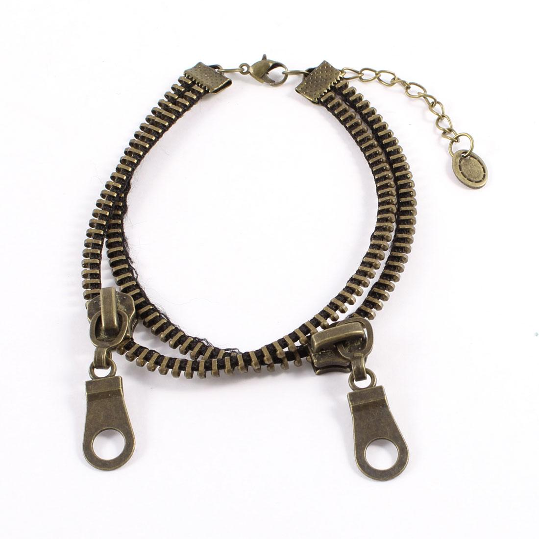 Bronze Tone Matel Double Zipper Zip Shape Decor Anklet Chain