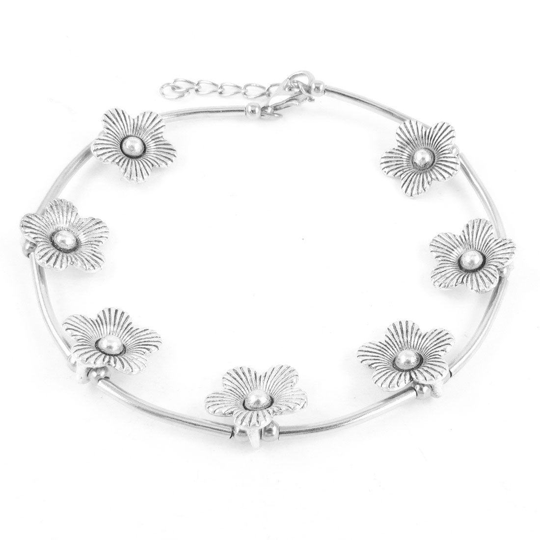 Woman Girls Silver Tone Metal Flowers Detail Lobster Clasp Anklets Decoration