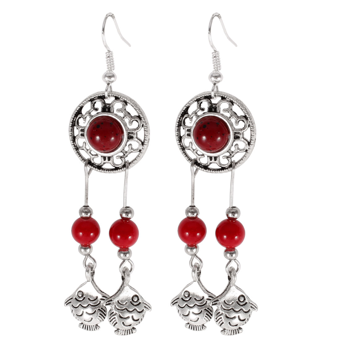 Ladies Fish Detail Red Beads Inlaid Round Pendant Hook Earrings Silver Tone Pair