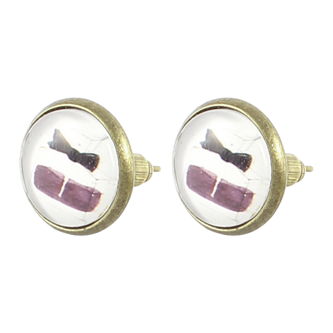 Pair Perfume Bottle Pattern Round Shape Stud Earrings Bronze Tone Decoration