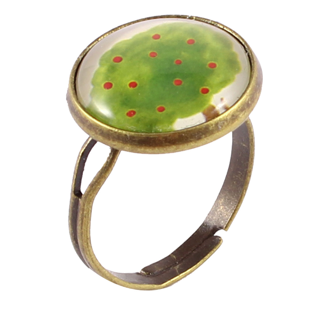 Woman Bronze Tone Metal Tree Print Round Decor Finger Ring UK M 1/2