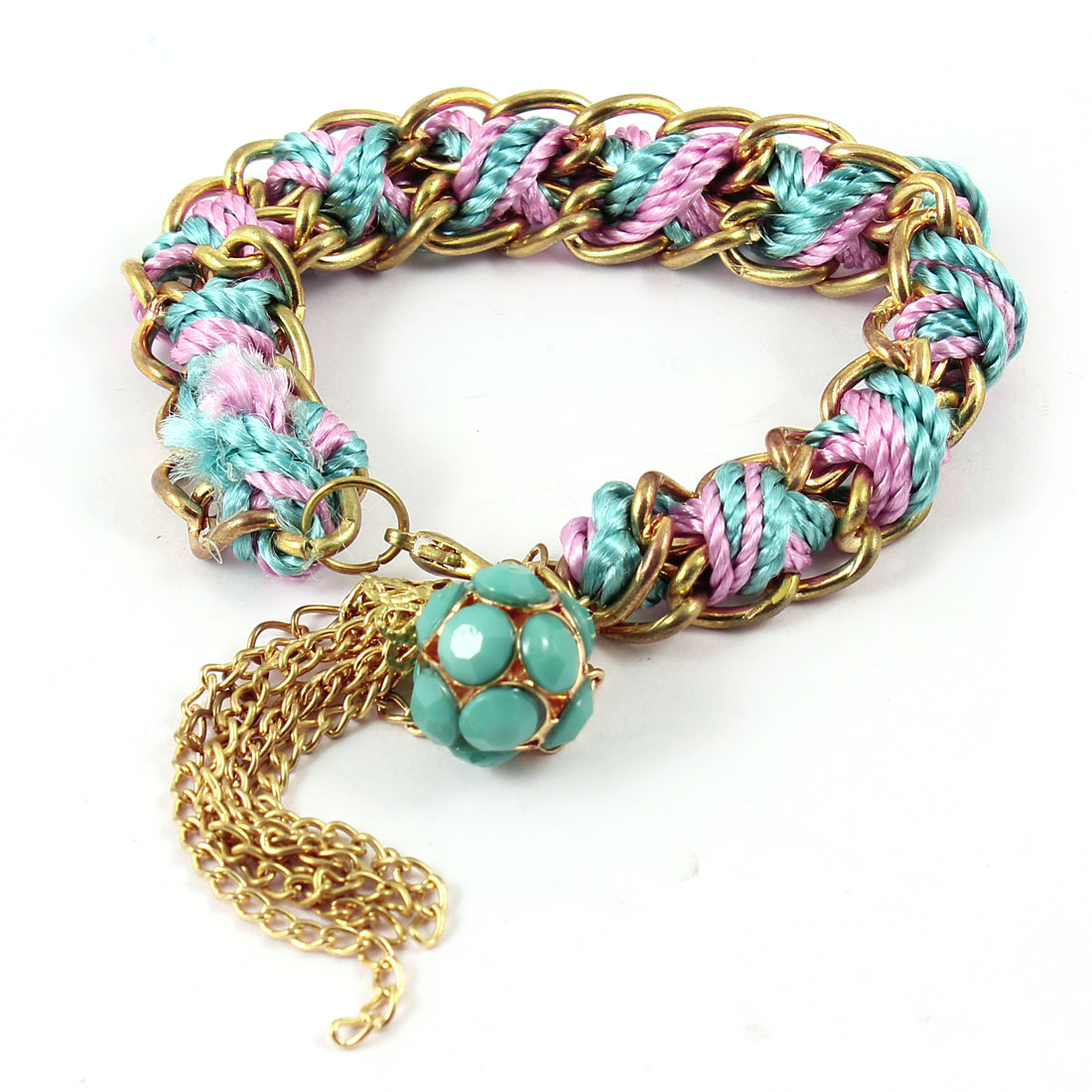 Women Girls Colorful Rope Braid Metal Chain Lobster Clasp Bracelet Decoration