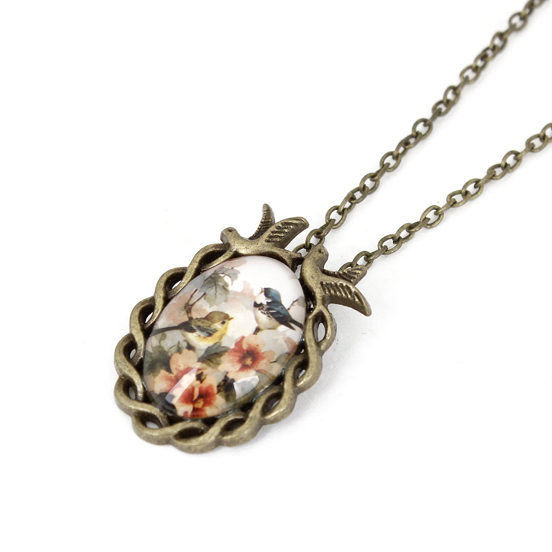 Woman Girl Flower Bird Print Ellipse Pendant Lobster Clasp Necklace Bronze Tone