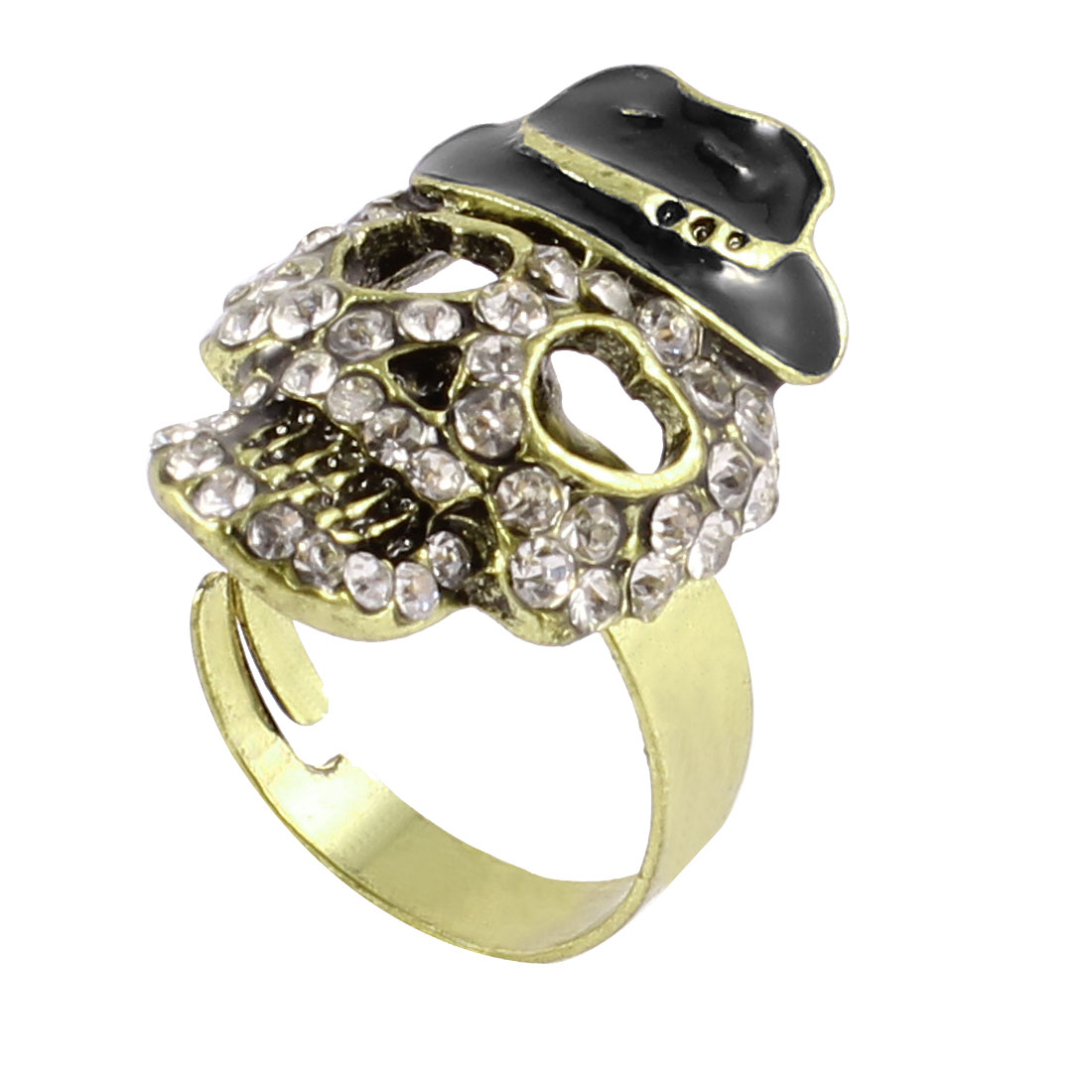 Ladies Fuax Rhinestone Accent Bronze Tone Skull Decor Metal Finger Ring US 6 1/2