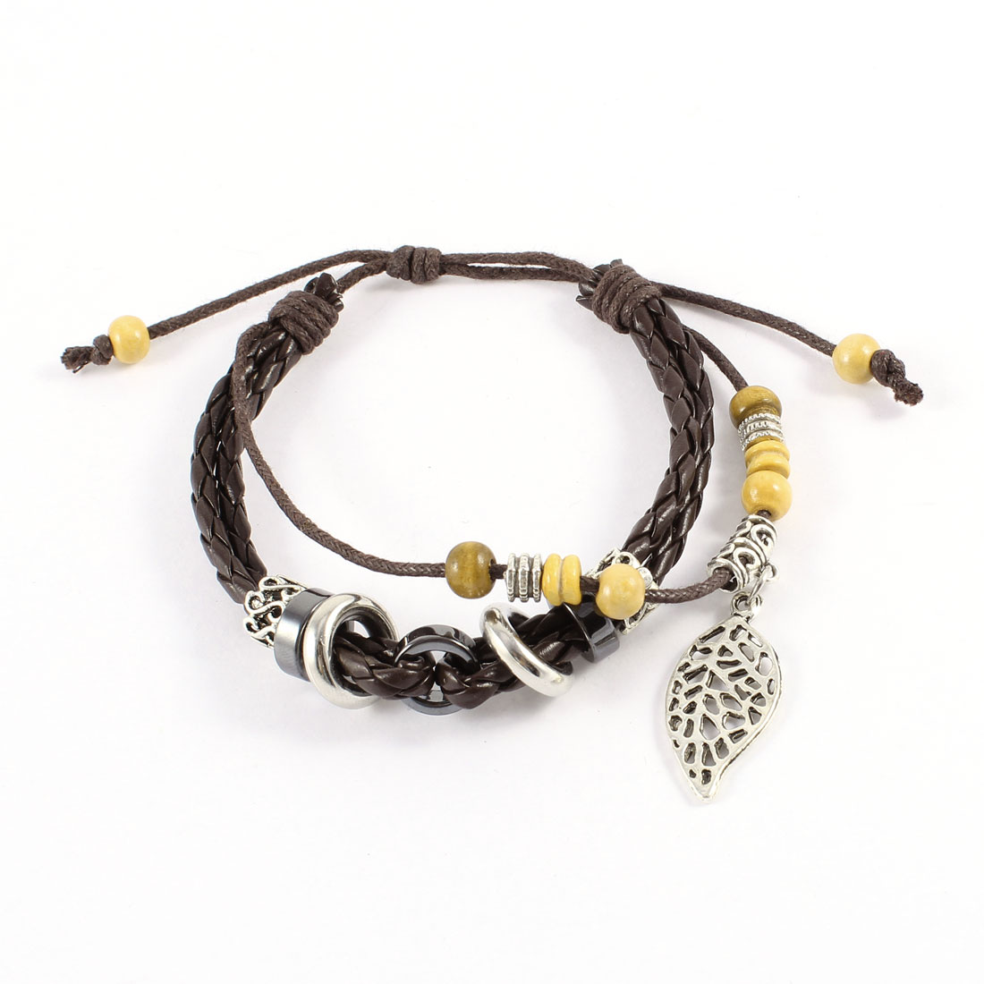 Leaf Pendant Brown Braided Faux Leather Adjustable Rope Bracelet for Unisex