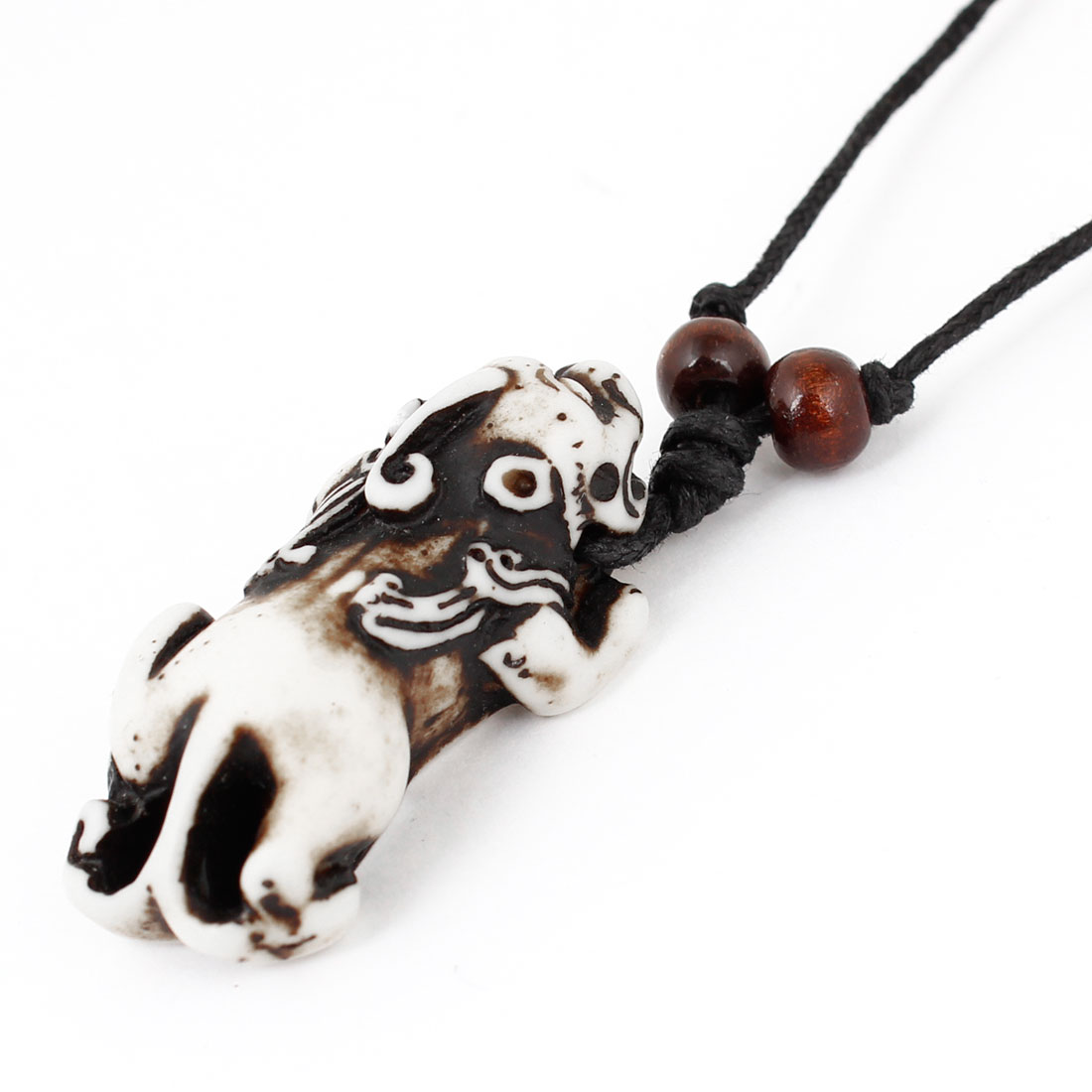 Black Double Rope Chinese Lucky Animal Hikyuu Pendant Necklace Decoration