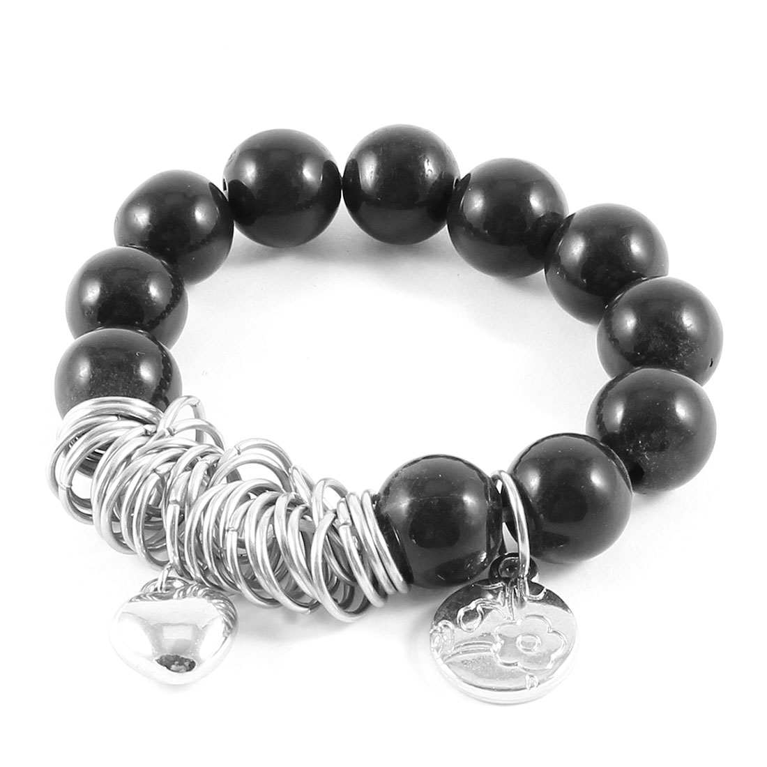 Black Bead Link Silver Tone Chain Heart Round Decor Elastic Bracelet for Woman