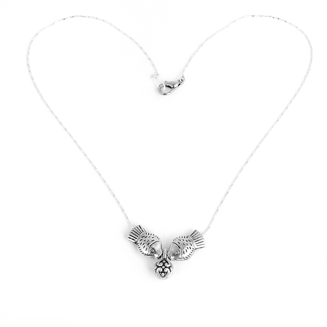 Woman Girl Silver Tone Chain Kissing Fish Pendant Necklace Decoration