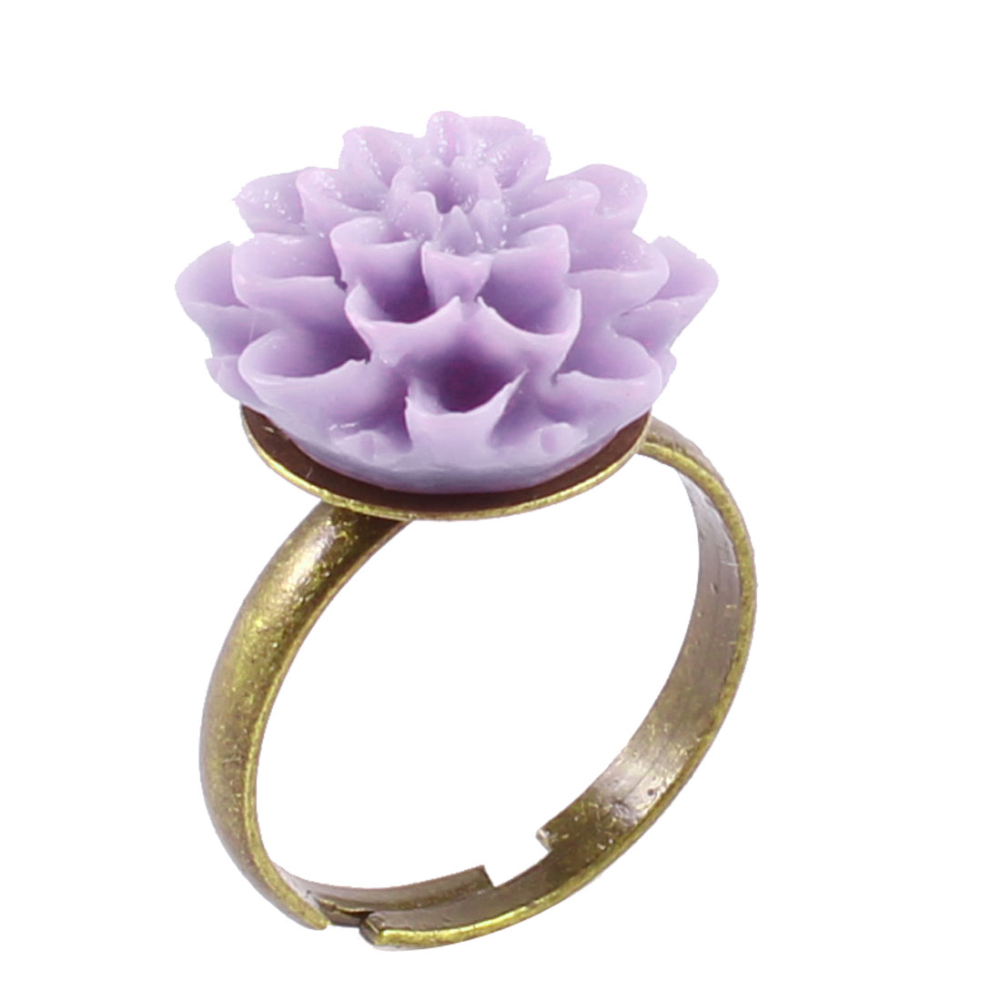 Lady Bronze Tone Metal Purple Flower Decor Finger Ring UK M