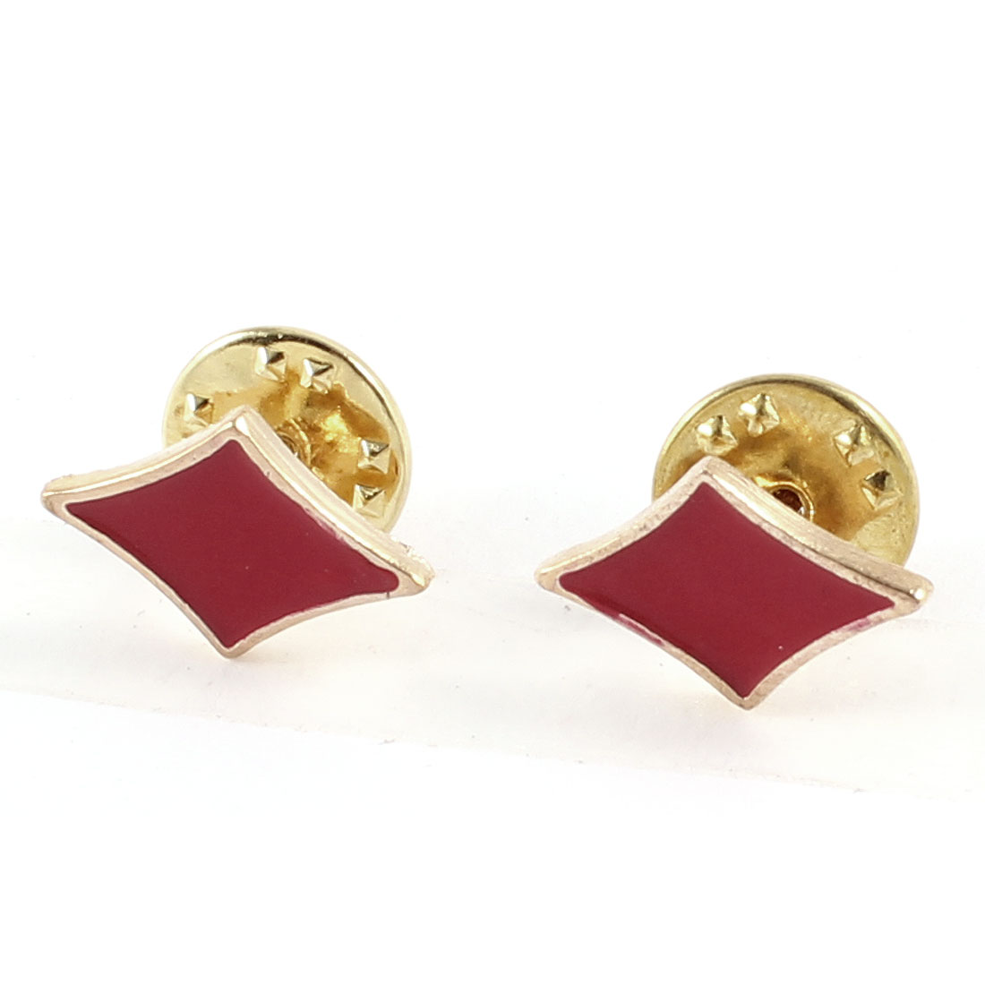Pair Ear Decoration Red Rhombus Shape Decor Brooch for Lady