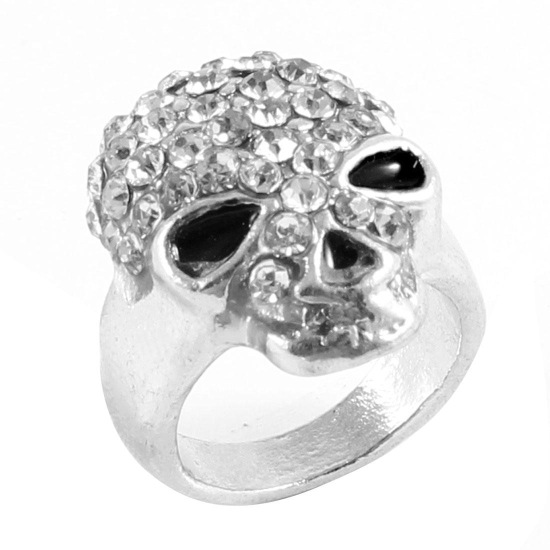 US 4 1/2 Silver Tone Metal Faux Rhinestones Inlaid Skull Shape Finger Ring