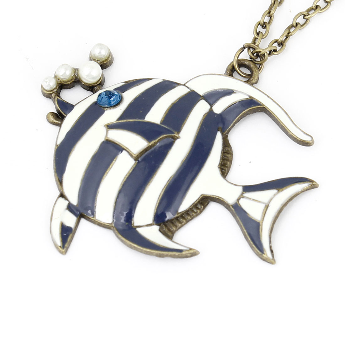 Woman Girl Bronze Tone Chain Striped Fish Pendant Lobster Clasp Necklace Decoration