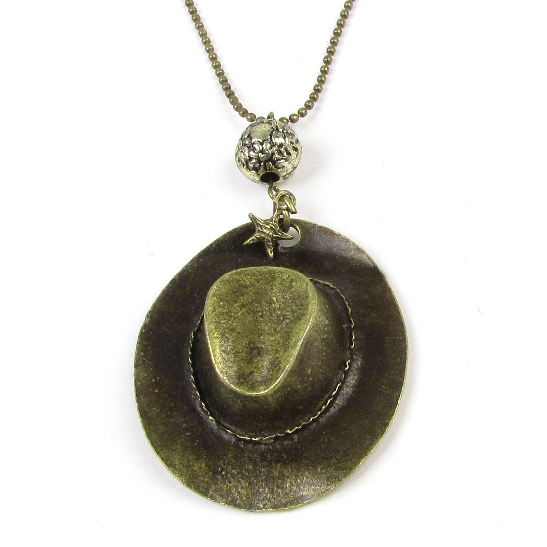 Woman Girl Bronze Tone Metal Hat Pendant Silm Long Chain Nacklace