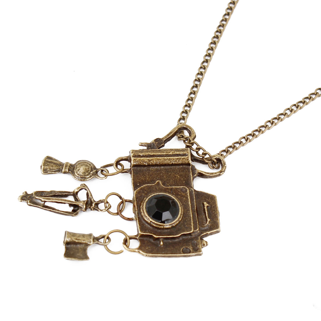 Lady Bronze Tone Metal Chain Camera Pendant Sweater Necklace Decoration