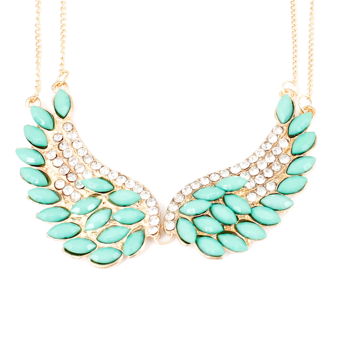 Women Gold Tone Chain Green Faux Crystal Inlaid Wing Pendant Necklace Decoration