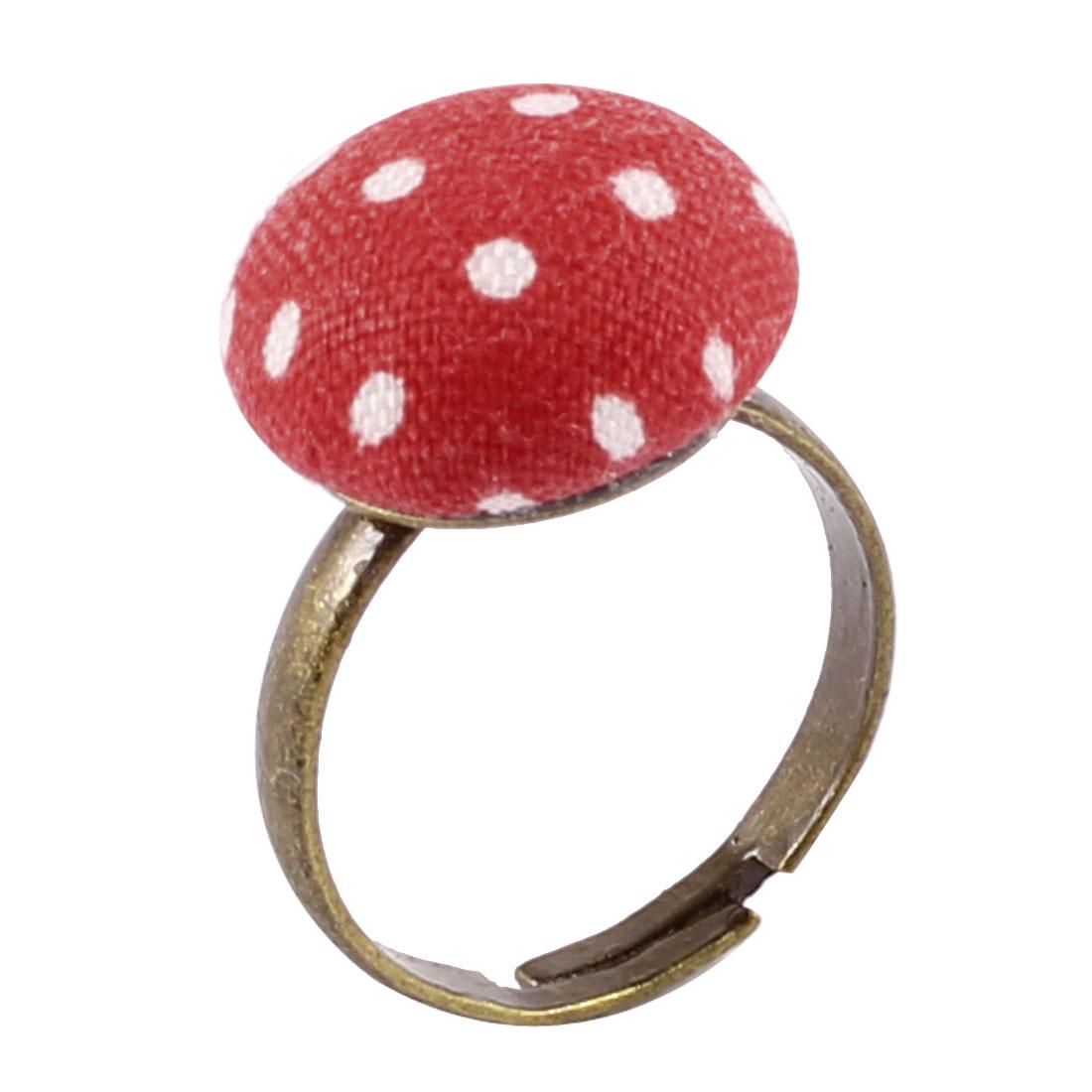 Bronze Tone Metal White Dot Print Red Mushroom Detail Finger Ring US 6 1/2