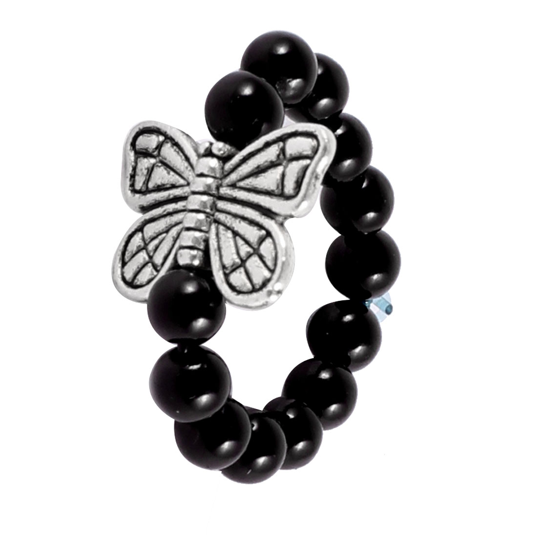 Woman Black Plastic Beads Link Butterfly Decor Elastic Finger Ring